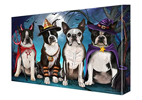 Happy Halloween Trick or Treat Boston Terrier Dog Canvas Wall Art (11x14) (Dog Halloween Art)