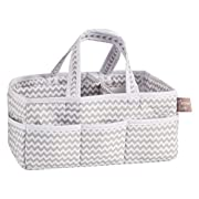 Trend Lab Dove Gray Chevron Storage, Nursery, Diaper Caddy - White/Gray