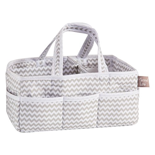 Trend Lab Dove Gray Chevron Storage, Nursery, Diaper Caddy - White/Gray (Caddy Diaper Sarabear)