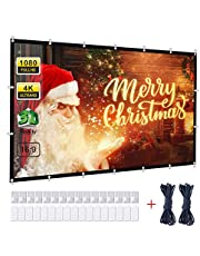 Powerextra Projector Screen 120 Inch 16:9 HD 4K Portable Projection Screen for Home Theater Cinema Indoor Outdoor HD Movie Screen, Collapsible Widescreen