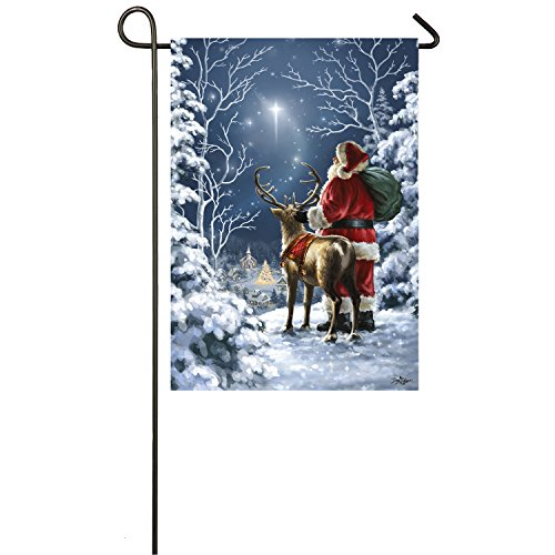 Evergreen Starry Night Santa Outdoor Safe Double-Sided Satin Garden Flag, 12.5 x 18 inches