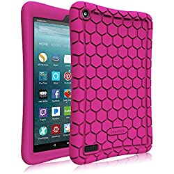 Fintie Silicone Case for All-New Amazon Fire 7 Tablet (7th Generation, 2017 Release) - [Honey Comb Upgraded Version] [Kids Friendly] Light Weight [Anti Slip] Shock Proof Protective Cover, Violet