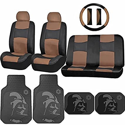 Synthetic Leather Beige Seat Cover Star Wars Darth Vadar Rubber Floor Mat Universal