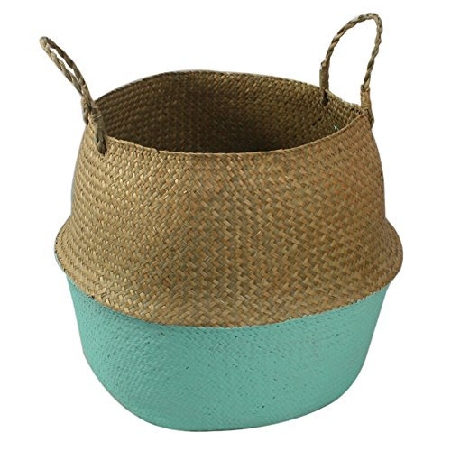 Smartcoco Foldable Natural Seagrass Woven Hanging Storage Basket with Handle Toys Laundry Storage Holder Container Home Plants Flower Decoration