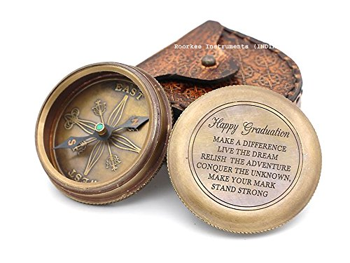 """Solid Brass Compass W/Case """" Happy Graduation Quote""""."""