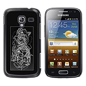 Be Good Phone Accessory // Dura Cáscara cubierta Protectora Caso Carcasa Funda de Protección para Samsung Galaxy Ace 2 I8160 Ace II X S7560M // Floral Black White Skull Floral Patter