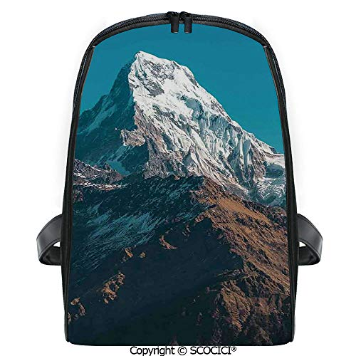 SCOCICI Primary School Student Book Bag Photo of Himalayan Mountains Snowy Peak Nepal South Asian Nature Landscape Photo for Girls/Boys Back To School Gift