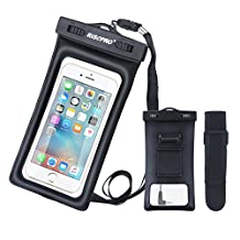 Waterproof Case, RISEPRO® Floatable Underwater Pouch Dry Bag With Armband & Audio Jack for iPhone 6, 6 plus, 6s, 6s plus, 5, 5s, Samsung Galaxy s6 HTC Screen Touchable IPX8 100FT FB1710-BK
