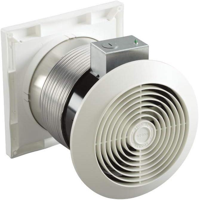 bathroom fan venting option using a through-the-wall fan kit