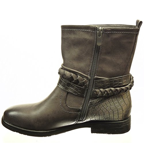 Angkorly Women's Fashion Shoes Ankle boots - Booty - cavalier - biker - snakeskin - thong - cord Block Heel 2.5 CM Grey WqRCMHR