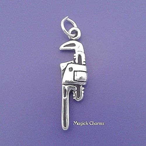 Sterling Silver 3-D PIPE WRENCH Plumber Tool Charm Pendant - lp2844 Jewelry Making Supply Pendant Bracelet DIY Crafting by Wholesale Charms