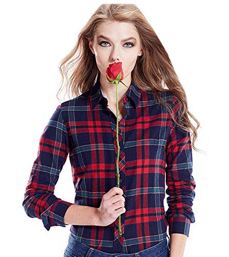 Acvip Longue Femmes fille En 13 Outwear Manche Étudiante Chemise Rouge Revers Simple Coton Casuel Carreaux À Couleurs Blouse rrq8d