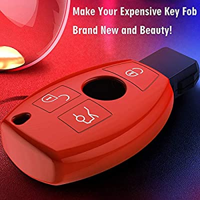 Intermerge for Mercedes Benz Key Fob Cover Benz TPU Key Case Cover Compatible with Mercedes Benz C E S M CLS CLK G Class Mercedes Smart Key Cover Fob (Red): Automotive