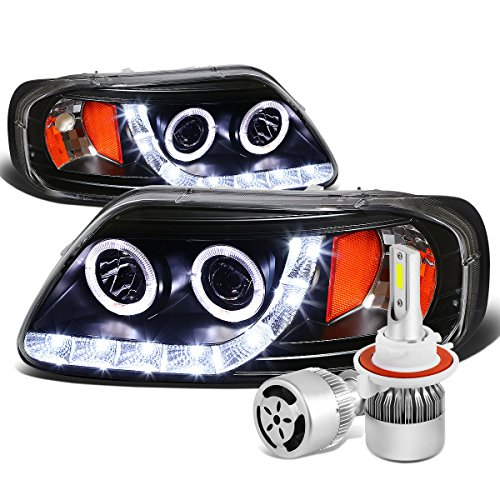 dition Black Housing Amber Corner Dual Halo Projector Headlight + H3 LED Conversion Kit W/Fan ()