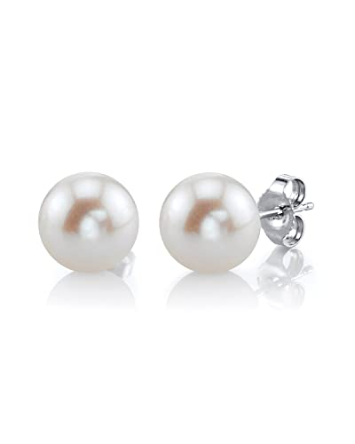 8-9mm White Freshwater Cultured Pearl Stud Earrings in 14K Gold - AAAA Quality L5y4fdXo