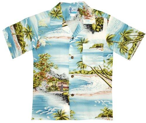 Surf Camp Shirt - RJC Boys Paradise Island Surf Rayon Shirt Blue 8