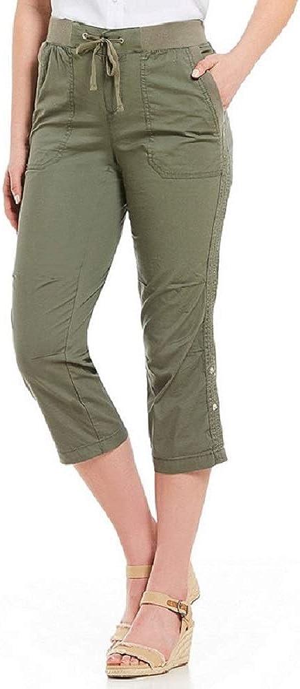 Khakis & Co. Women's Utility Poplin Capri Relax Fit Roll-up Pants