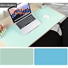 Large Desk Pad Mouse Pad, 35.4x15.75 Inches Non-Slip PU Leather Desk Mouse Mat Waterproof Desk Pad Protector Gaming Writing Mat for Office Home Desks (Mint green+Sky blue)