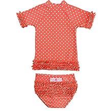 RuffleButts Infant / Toddler Girls Deep Coral Polka Dot Ruffled Rash Guard Bikini