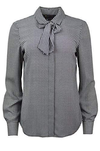 Brooks Brothers Womens Houndstooth Print Bow Tie Collar Button Down Blouse Black/White (16)