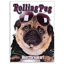 "PUGGO Pugs Art Collection, ROLLING PUG PUGGO - Officially Licensed Pug Heavy Duty MAGNET - 2.5"" x 3.5"""