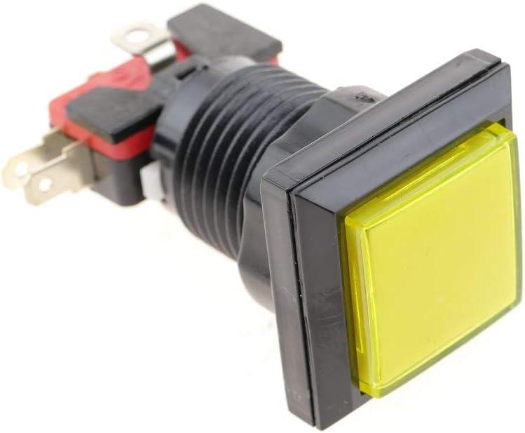 BeMatik Pulsador Arcade moment/áneo 32x32 mm 1NO 1NC 250V 15A SPDT Amarillo con luz
