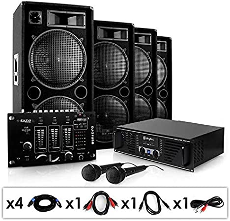 ElectronicStar Bassbrigade USB Equipo PA Amplificador Altavoces Mesa de Mezclas