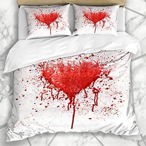 Ahawoso Duvet Cover Sets Queen/Full 90x90 Expression Horror Broken Heart Red Spot Shape Abstract Bleeding Blood Love Splatter Wall Drips Microfiber Bedding with 2 Pillow Shams
