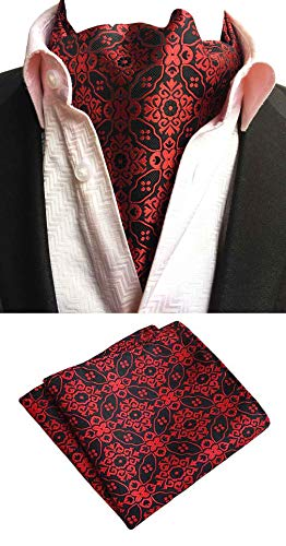 it Cravat Tie Woven Wedding Ascot tie with Pocket Square Set ()