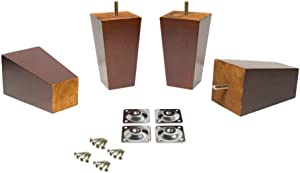 Square Tapered Pyramid Wooden Furniture Legs for Sofa/Ottoman Walnut Finish, Set of 4 (5 Inch)
