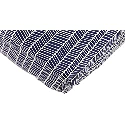 Danha Premium Fitted Cotton Crib Sheet With Herringbone Print - Standard Crib Mattress Size - Toddler, Kids Bedding - Navy Herringbone Nursery Décor Theme - Ideal Baby Shower Gift For Boys Or Girls