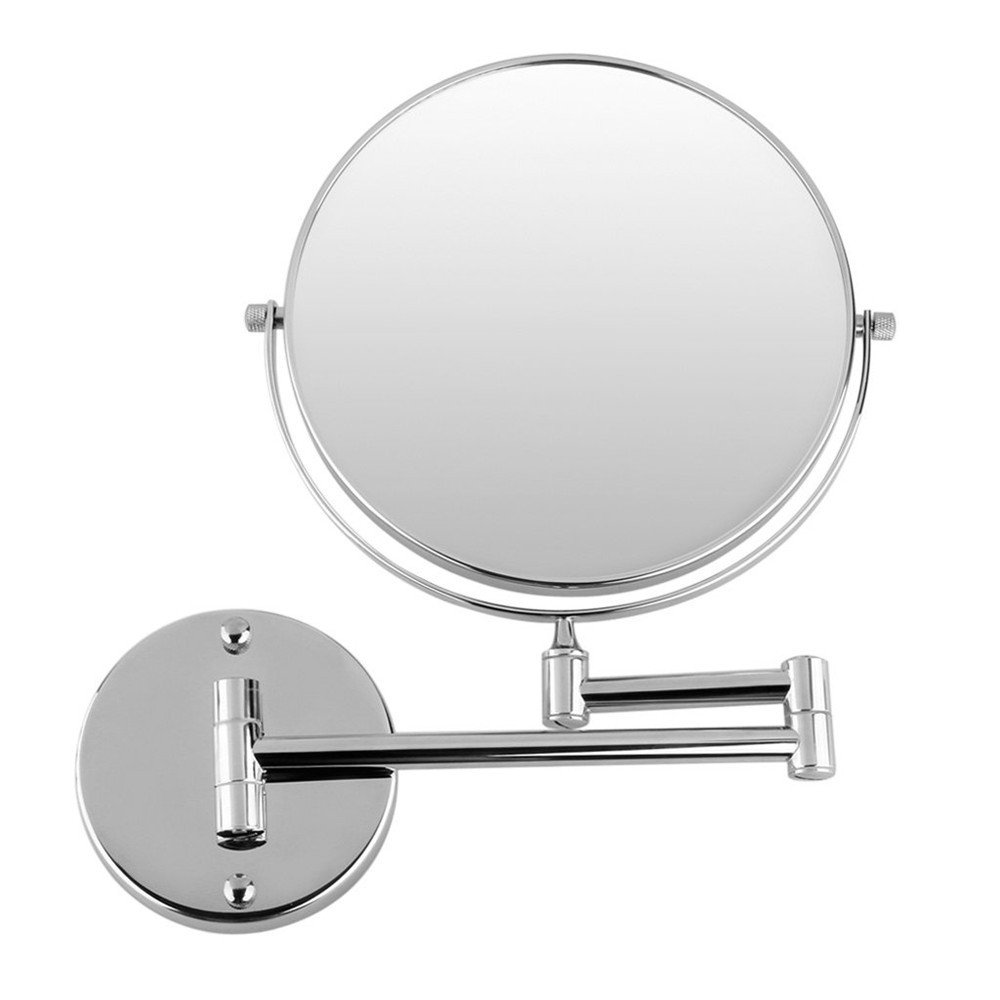 GF Wood Chrome Round Double-Sided 7X Magnifying Mirror 8'' Wall Mirror Vanity Mirror Cosmetic Mirror