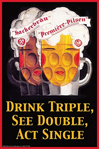 Triple Ale - Drink Triple, See Double, Act Single 24x36-inch Wall Decal