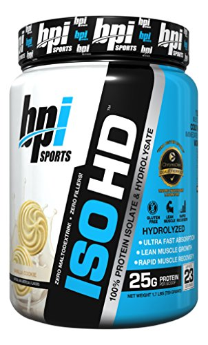 BPI Sports ISO HD 100% Protein Isolate & Hydrolysate, Vanilla Cookie, 1.7 Pound
