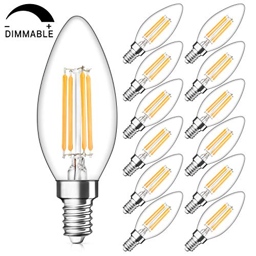 SHINE HAI Candelabra LED Filament Bulbs Dimmable 40W Equivalent, 2700K Warm White Chandelier B11 LED Bulb E12 Base Decorative Candle Light Bulb, Pack of 12