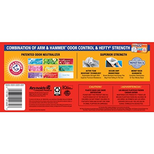 Hefty Ultra Strong Kitchen Trash Bags 13 Gallon Garbage Bags - Clean Burst - Odor Control - Drawstring - 80 Count