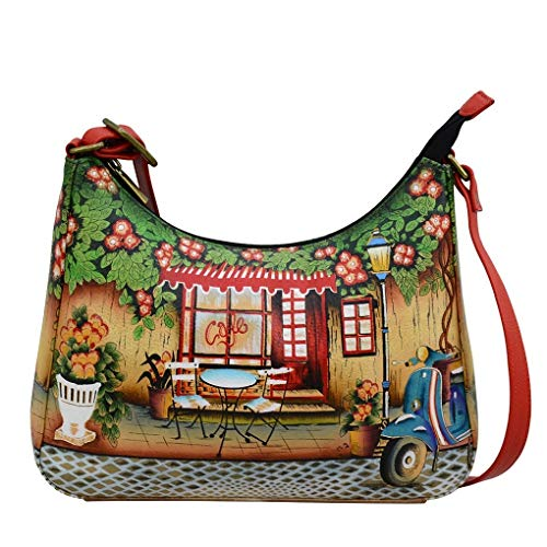 (Anna by Anuschka Genuine Hand Painted Leather | Large Hobo | Le Café)