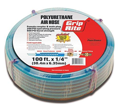 Grip Rite Air Compressors - Grip-Rite GRPU14100C Polyurethane Air Hose with Couplers, 1/4-Inch by 100 Feet