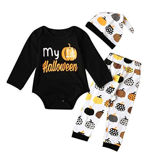 GBSELL 3PCS Newborn Infant Baby Girl Boy Halloween Clothes Romper Top + Pants + Hat Outfits Set (Black, 0-6 Month) ()