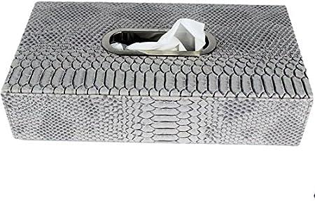 SIGNATURE HOME COLLECTION Ap de 185 – 912 de S pañuelos (Caja, Piel sintética, Plata Gris, 26 x 14 x 6 cm: Amazon.es: Hogar