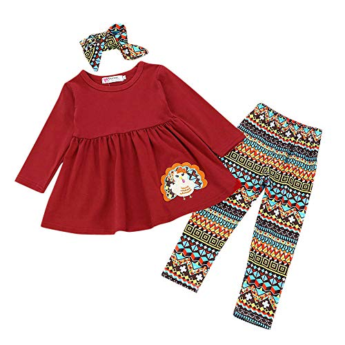 Girls Turkey Dresses,3Pcs Kids Toddler Baby Girls Turkey T-Shirt Top Dress+Pants+Headband Thanksgiving Outfit Clothes Set -