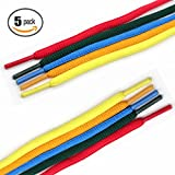 """COOL LACE Half Round Athletic Shoelaces Oval Shoe Laces for Sneakers 5 Pairs Pack 3 Different Size (47.2"""")"""