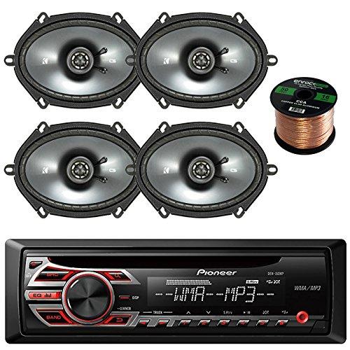 Pioneer DEH150MP Single Din Car Receiver  Bundle Combo With 2 x Kicker 40CS684 6x8inch 2-Way Speakers (2 Pairs) Enrock 50feet 16 Gauge Speaker Wire