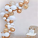 Kwayi Balloon Garland Kit, 16Ft Balloon Arch Kit with 85PCS Gold & White Balloon, Decoration Strip, Glue Dots, Tying Tool, Ribbon for Birthday Baby Shower Wedding Bachelorette Party Decoration