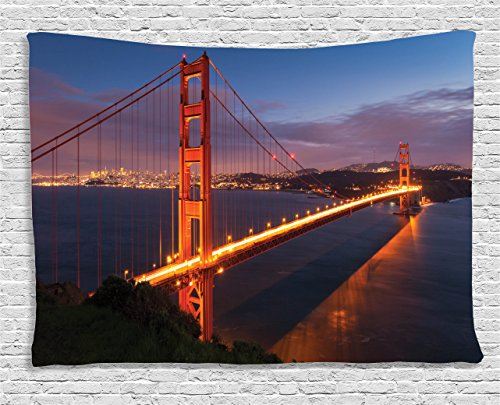 Panorama Landscape (Ambesonne Apartment Decor Collection, Panorama Of Golden Gate Bridge Famous Architectural Scenery Headlands Landscape, Bedroom Living Room Dorm Wall Hanging Tapestry, 80W X 60L Inch)