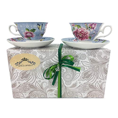(Fine Bone China English Style Pedestal Cup And Saucer Set Of Two In Gift Box (Blue Floral Butterfly))