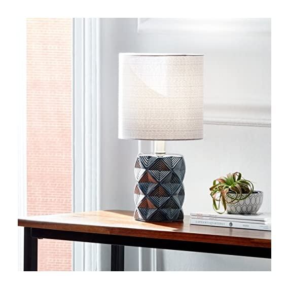 "Rivet Geo Modern Black Ceramic Living Room Table Desk Lamp With LED Light Bulb - 15 Inches, Grey - Geometric shapes in shades of grey and black give this lamp's ceramic base a modern feel, while a fabric drum shade, also in grey, gives it a classic hint. This lamp will add pleasing ambient light to transitional or modern décor. 8"" Diameter x 15""H Ceramic base, grey fabric shade - lamps, bedroom-decor, bedroom - 515A7PF0LhL. SS570  -"