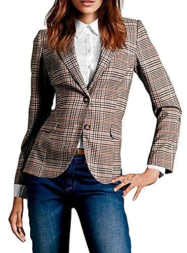 Obazidou Women's Cotton Rolled Up Sleeve No-Buckle Blazer Jacket Suits XX-Large Brown