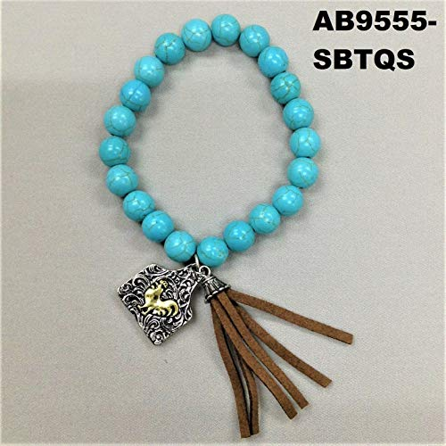 (Bohemian Style Rooster Animal Charm Tassel Turquoise Beads Stretch Bracelet)