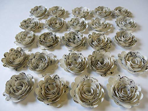 "Scalloped Sheet Music Roses, Set of 24, Musical Party Theme Decorations, 1.5"" Paper Flowers, Popular Baby Shower Decor Wedding Centerpiece, Teacher Gift Idea"